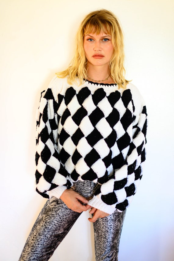 Hand Knit Checkered Oversized Sweater with Bishop