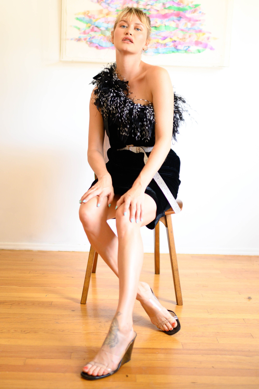 80s Dresses | Casual to Party Dresses Aj Bari Silk Velvet One Shoulder Dress With Oversized Marabou Trim Feather 1990S Minimal $148.00 AT vintagedancer.com