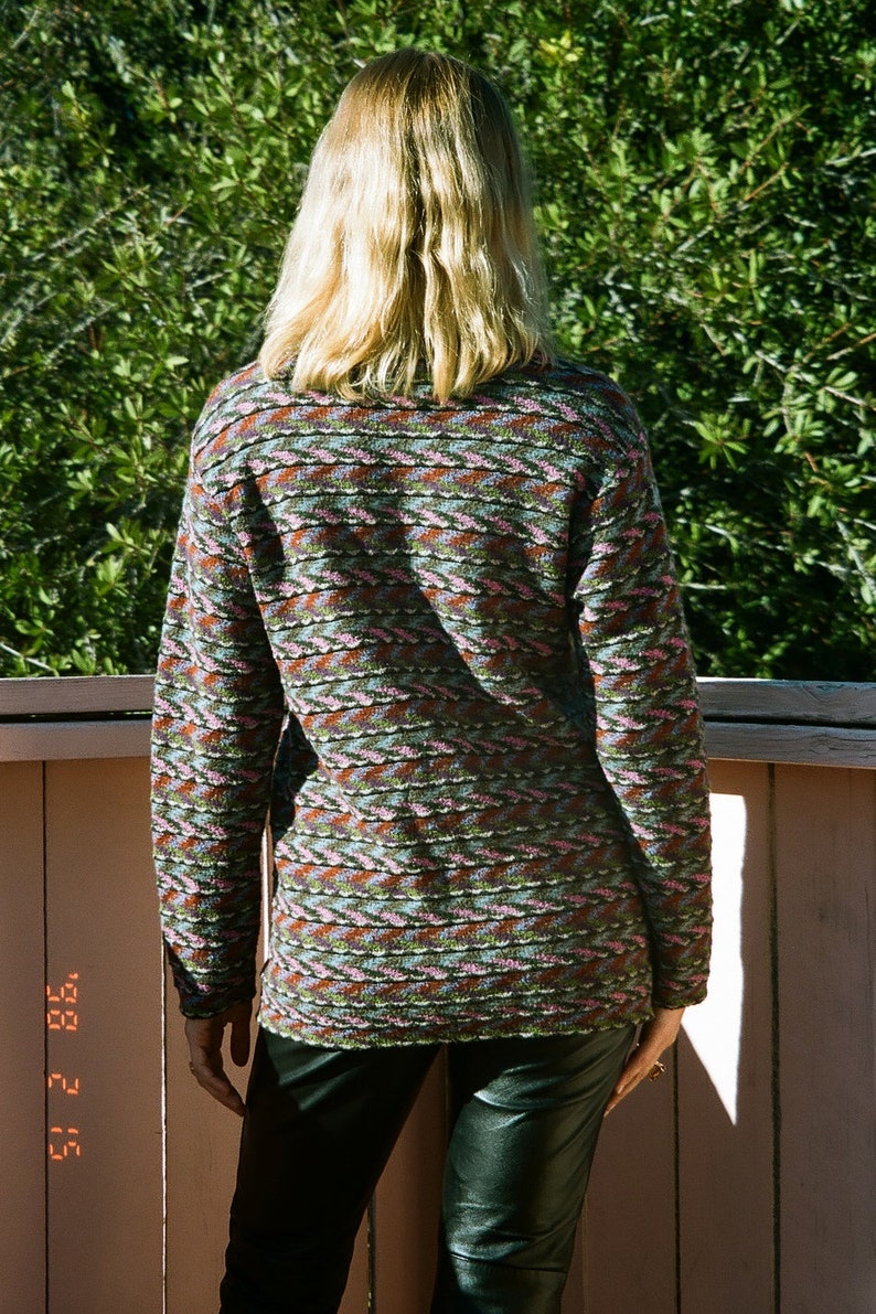Missoni Sport 1980s Knit Classic Missoni Zig Zag Sweater with Marbled Buttons