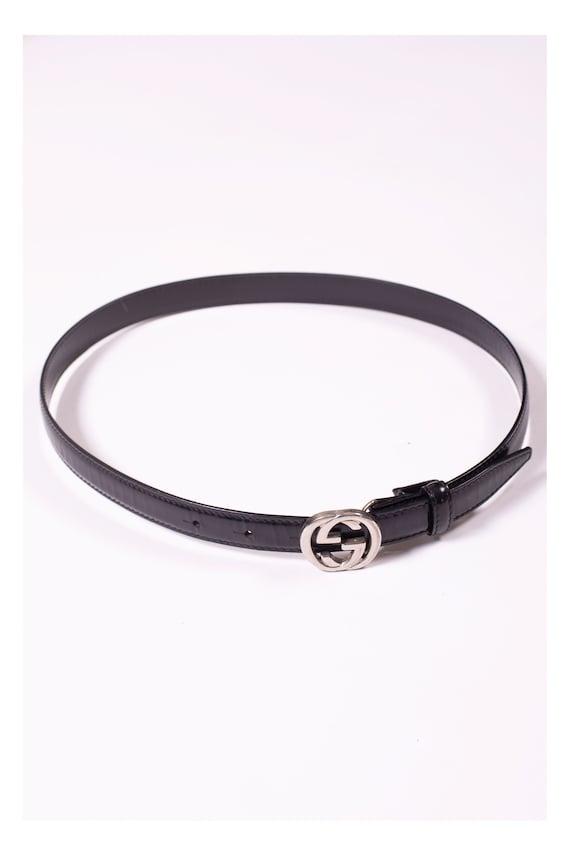 GUCCI 1990s Thin Black GG Leather Belt Monogram Wa