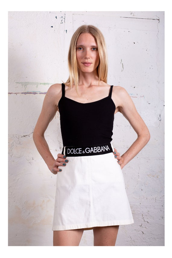 Vintage Dolce and Gabbana White Cotton Skirt with