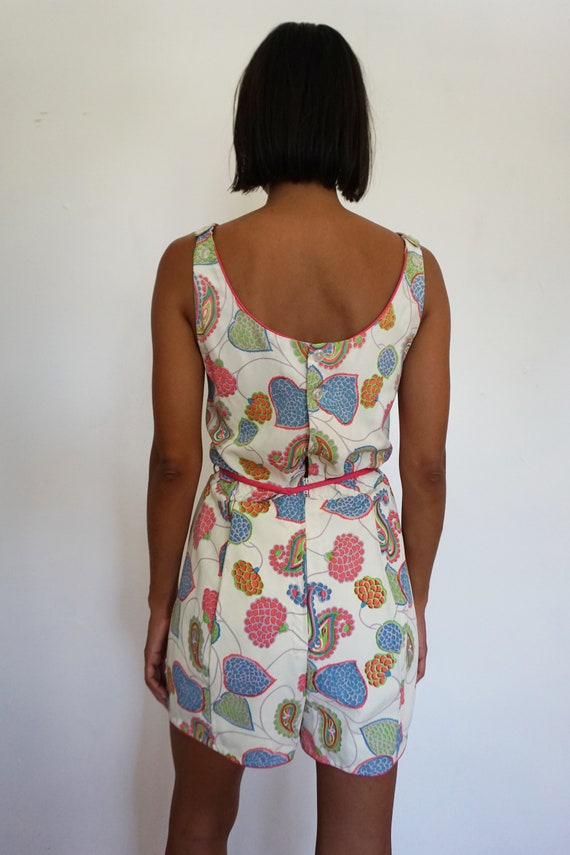 Paisley and Floral Print 1960s Playsuit Romper Be… - image 5