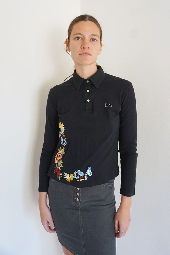 Christian Dior Y2K Floral Embroidered Button Front