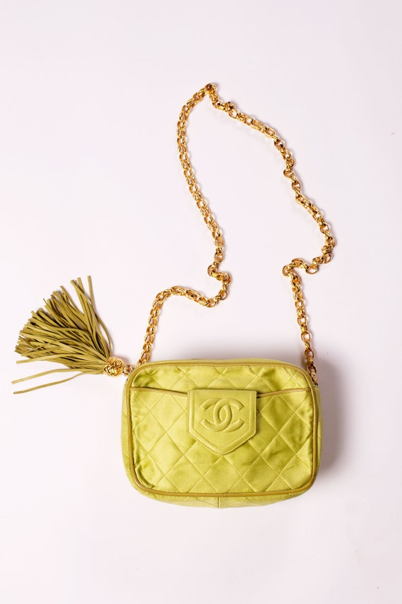 CHANEL Vintage Neon Chartreuse Green Satin + Leath