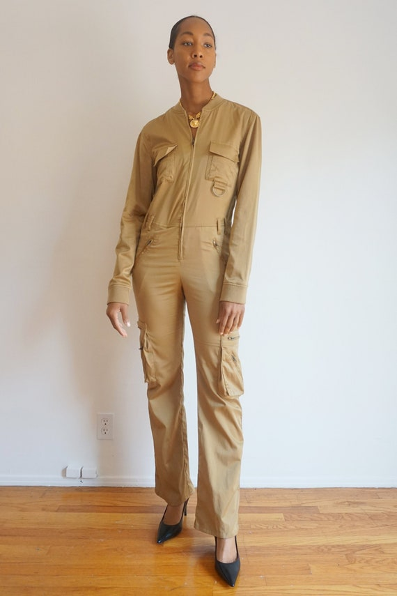 Vintage Tan Zip Front Coveralls with Pockets Milit