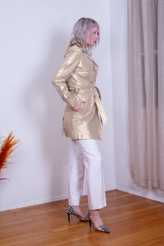 90/'s Brown Matte Metallic Long Trench Mac Coat Jacket Plastic Gothic