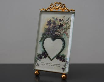 antique early 1900 France beveled glass and brass easel picture frame