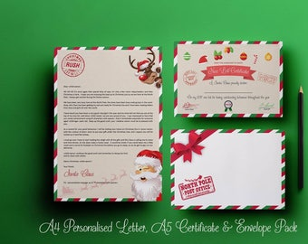 Letter From Santa pack AND nice list certificate. Personalised Santa Letter. Based on Elf on Shelf. Christmas Eve Box, Stocking Fillers