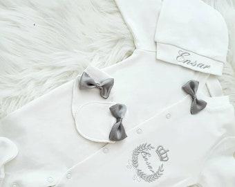 3-piece pyjama set patterned crown and grey bow tie. Custom