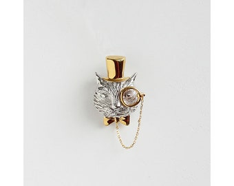 Gentleman Cat necklace/brooch 3.5cmX2cm Silver &gold plated