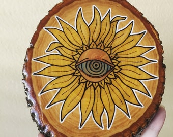 Sunflower Eye Wood Burned Plaque