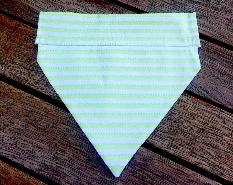 Free Shipping Within Australia Handmade Dog Over the Collar Bandana GreenWhite Stripe Dog Bandana Great Handmade Gift