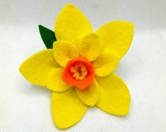 100% Wool Felt Daffodil Brooch