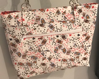 Playing cards hand bag- purse - ready to ship