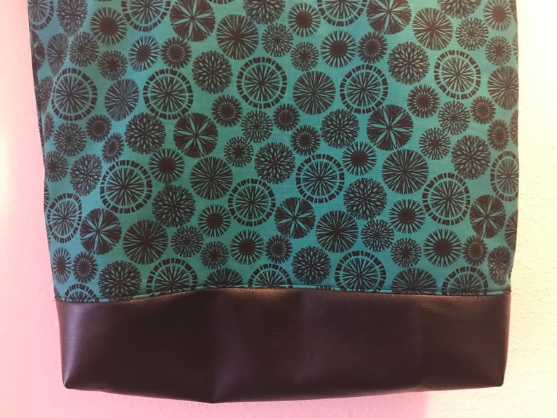 Ready to ship Teal with black circles tote with black vinyl bottom