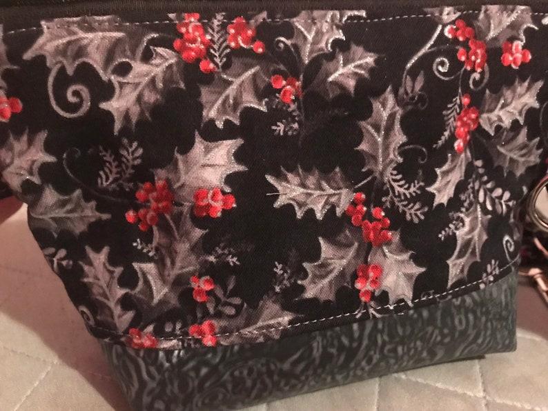 ready to ship Christmas Holly Vinyl bottom wristlet