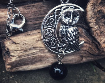 Owl necklace, witch's owl necklace, crescent moon necklace, Tourmaline necklace, Protection necklace, Owl charm necklace