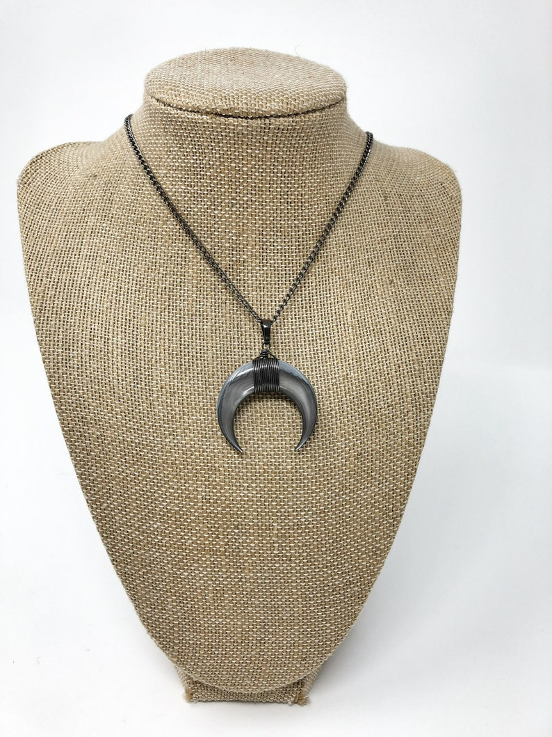 mother of pearl necklace Double horn necklace Wiccan necklace women\u2019s horn necklace men\u2019s horn necklace