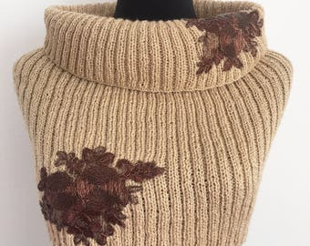 Neck/Tricot Wool and Lurex wraps, bronze lace. Christmas gifts, gifts for her