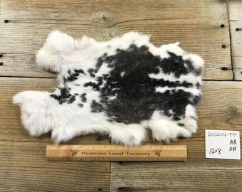 Natural Rabbit Fur One Average Magpie Harlequin Brown Rabbit Hide 190616-JJJ No