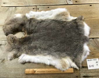 One Average White and Brown Spotted Rabbit Hide No Natural Rabbit Fur 190616-PPP