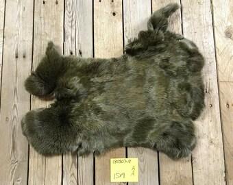 No 180307-GG Lot of 2 Olive Green Rex Rabbit Hides Natural Rabbit Fur