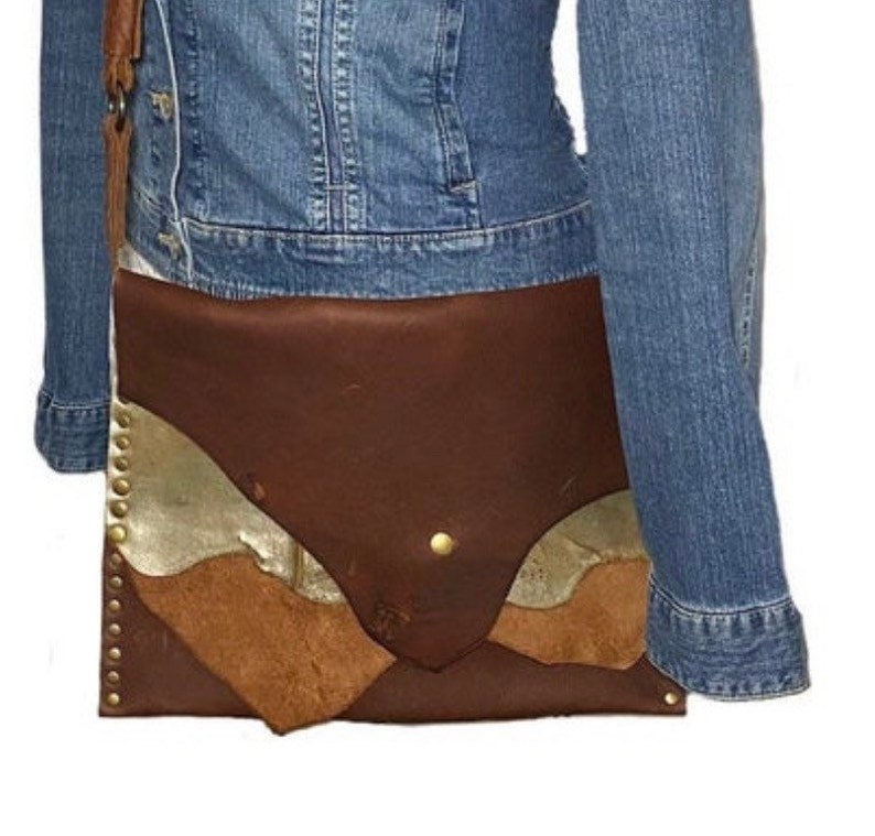 custom leather purse metallic leather crossbody leather patchwork bag