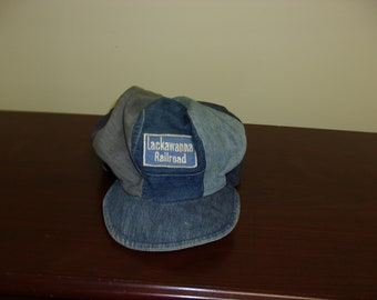 Vintage 30s 40s Union Made Denim Patch Lackawanna Railroad Hat 43f36cfde7e