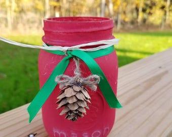 Pinecones and Christmas Mason jar
