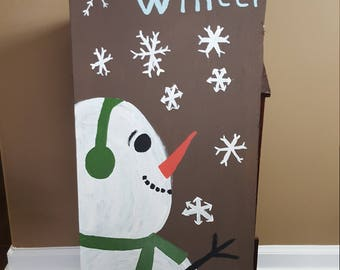 Snowman's winter welcome sign