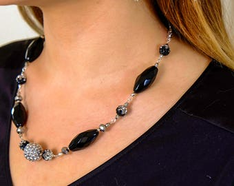 Black & Silver Spike Earrings and Necklace Jewelry Set