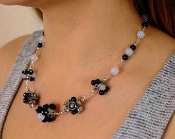 Floral Cluster Black & Iridescent Baby Blue Earrings and Necklace Jewelry Set