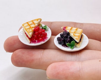 Dollhouse Waffles on Ceramic Plate with a Strawberry on Top 1:12 Miniature