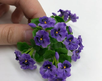 Dollhouse Miniatures Flowers Purple Pansy in Pot