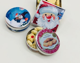 Square Tin with Butter Cookies Dollhouse Miniature Food  Holiday Gift