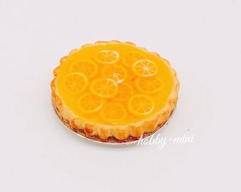 Miniature Orange Pie,Miniature Fruit Cake,Miniature Bakery,Miniature Sweet,Dollhouse cake,Dolls and miniature,miniature jewelry