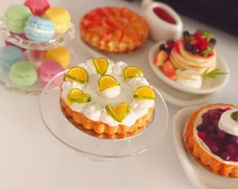 Miniature Lemon Pie,Miniature Fruit Cake,Miniature Bakery,Miniature Sweet,Dollhouse cake,Dolls and miniature,miniature jewelry