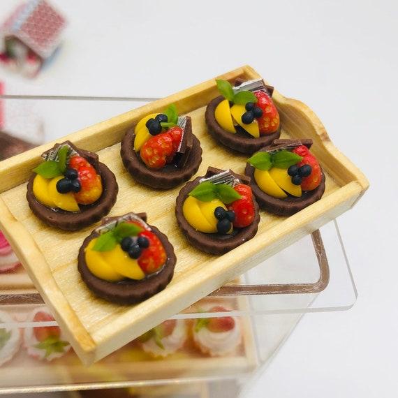 10 Pcs Rasberry Macaron on Plastic Tray Dollhouse Miniatures Food Holiday Bakery