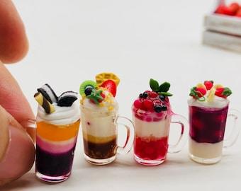 Set Miniature Beverage,Miniature acrylic cup,Miniature Coffee,Miniature Fruit Juice
