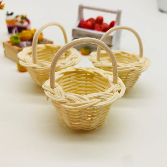 3 Pieces Miniature Wicker Basket Miniature Basket Miniature Doll S House And Decorate