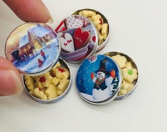 3 pieces Miniature Cookies tin,Miniature Bakery,Miniature Sweet,Dollhouse cake,Dolls and Miniature