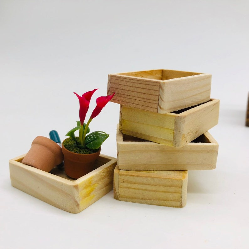 5 pieces Miniature Wooden box decorate for miniature ...