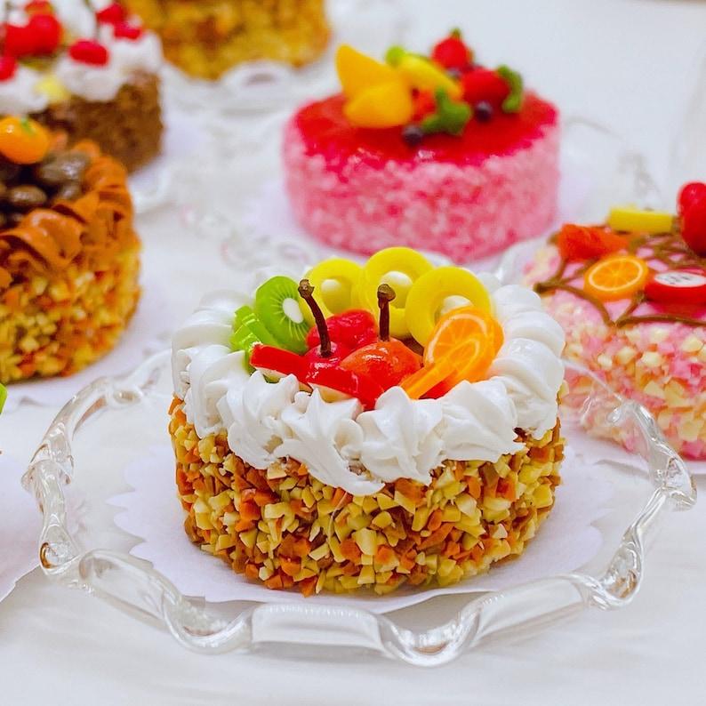 Miniature sweet cake Dollhouse cake Dolls and miniature Fake Cake Miniature Fruit Cake