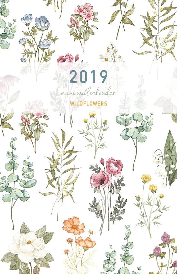 2019 Wildflower Vintage Wall Calendar Simple Minimal Flower Simple Nature