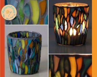 mosaic candle holder // votive candle holder // tealight candle holder // stained glass mosiac candle holder