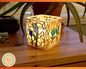 mosaic candle holder // floral mosaic // stained glass mosaic // stained glass candle holder // glass on glass mosaic