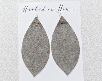 Light Gray {Suede Collection} - Gray Leather Earrings, Suede Earrings, Feather Leather Earrings, Fringe Earrings,Leaf Earrings, Boho Jewelry