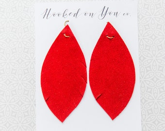 Cherry {Suede Collection} - Red Leather Earrings, Suede Earrings, Feather Leather Earrings, Fringe Earrings, Leaf Earrings, Boho Jewelry