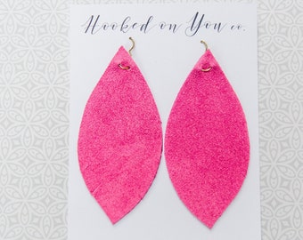 Pink Suede {Suede Collection} - Pink Earrings, Suede Earrings, Feather Earrings, Fringe Earrings, Leaf Earrings, Boho Jewelry