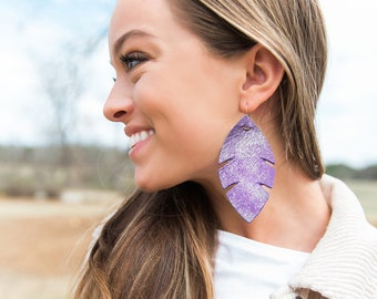 Palm Purple & Silver dusted -leather earrings, metallic earrings, purple earrings, boho palm earrings